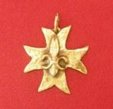 Pendentif Croix Fleur de Lys bronze