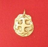 Pendentif médaillon Cathare sur plaque bronze