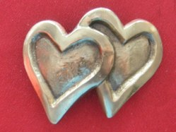 Boucle de ceinture Double coeur bronze