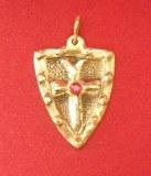Pendentif Bouclier Templier bronze