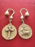 Porte-clés Templier double face bronze
