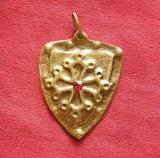 Pendentif Bouclier croix Occitane bronze