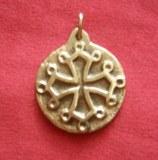 Pendentif médaillon Occitan rond bronze