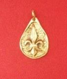 Pendentif médaillon Fleur de Lys bronze