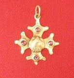 Pendentif Croix Occitane et coquille bronze